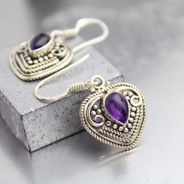 Silver and amethyst stones Indian earrings