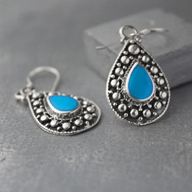 Indian silver and blue turquoise stones earrings