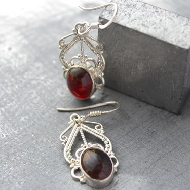 Silver and garnet stones Indian earrings