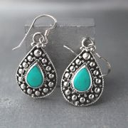 Indian silver and green turquoise stones earrings