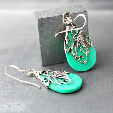 Indian silver and turquoise stone earrings