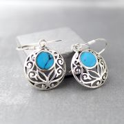 Silver and turquoise stones Indian earrings