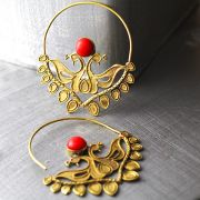 Indian earrings ethnic jewelry red peacock