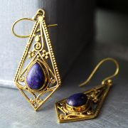 Indian earrings bohemian jewel blue
