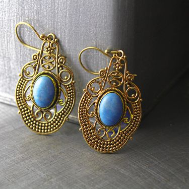 Indian earrings bohemian jewel light blue
