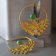 Indian earrings ethnic jewel green peacock