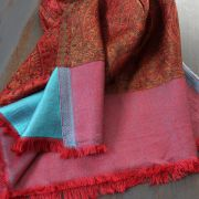 Indian Jamawar cotton scarf red and blue