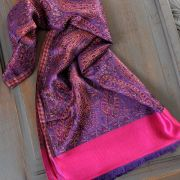 Indian Jamawar cotton scarf purple and pink
