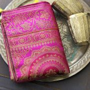 Indian handicraft table runner Sandhya magenta