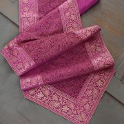 Indian handicraft table runner Sandhya magenta and black