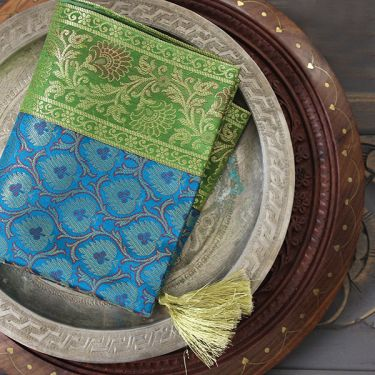 Indian handicraft table runner Sandhya green and blue