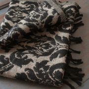 Tibetan woolen scarf black and light brown