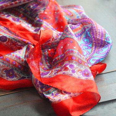 Foulard indien en soie carré orange