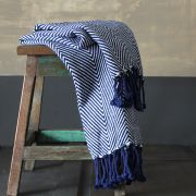 Indian sofa throw navy blue and white