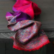 Indian Jamawar cotton scarf pink and purple