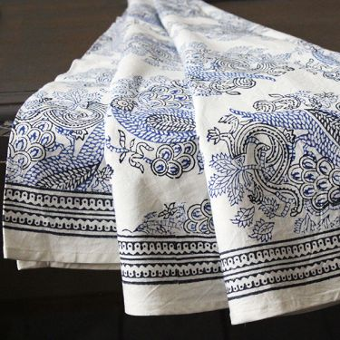 Indian round table cover white and blue