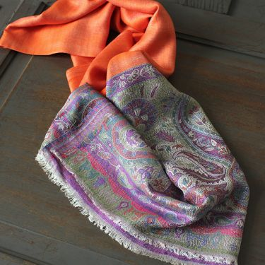 Indian Jamawar cotton scarf orange and purple