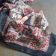Indian silk scarf square black