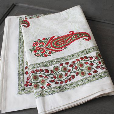 Indian printed table cover red and green