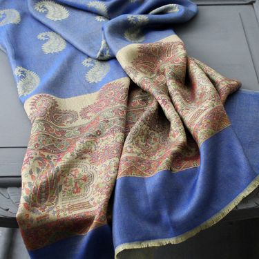 Indian Mango cotton scarf blue and light brown