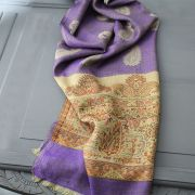 Indian Mango cotton scarf purple and light brown