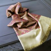 Indian Jamawar cotton scarf light brown and purple