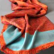 Indian Jamawar cotton scarf orange and cyan