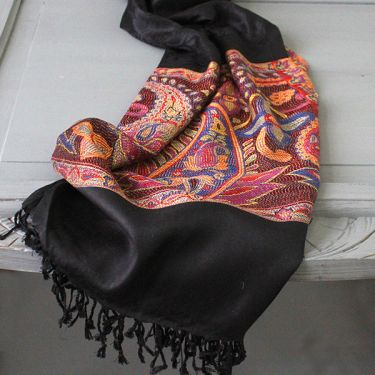 Indian cotton scarf black and orange