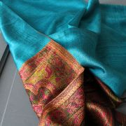 Indian Jamawar cotton scarf blue and purple