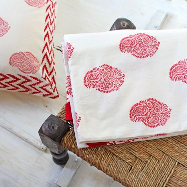 Indian handicraft printed bed sheet red