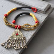 Indian metal and coton antique necklace orange and green