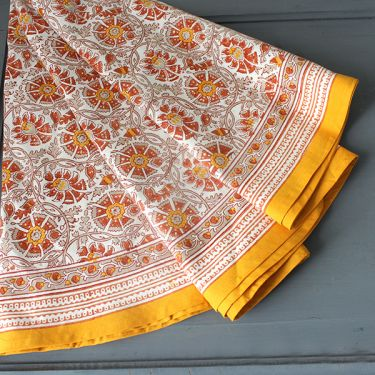 Indian round table cover orange and white