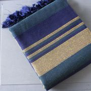 Indian sofa or bed cover blue and yellow