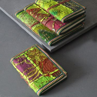 Indian handicraft 100% cotton diary light green