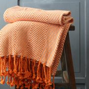 Indian cotton sofa throw orange and white