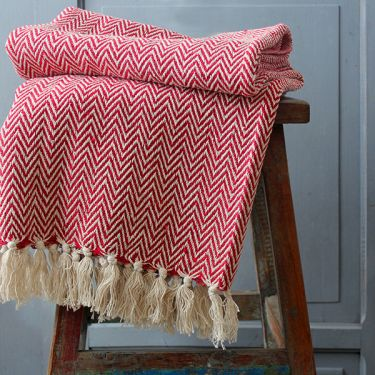 Indian cotton sofa throw red and white