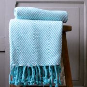Indian cotton sofa throw blue and white