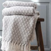 Indian cotton sofa throw grey and white