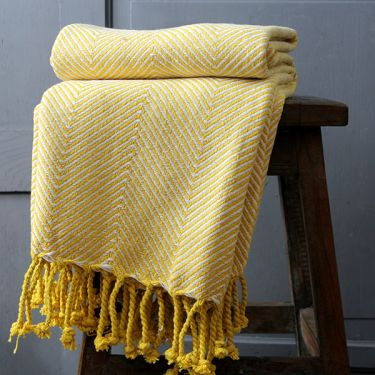 Indian cotton sofa throw yellow and white