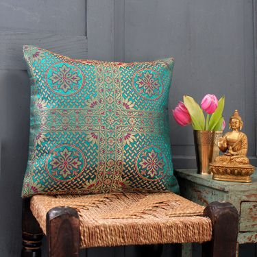 Indian cushion cover Benarasi blue-green L40