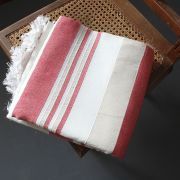 Indian sofa or bed cover white and pink