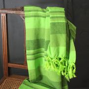 Indian handicraft sofa or bed cover green anise