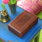 Indian wooden carved jewelry box