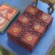 Indian handicraft wooden carved jewelry box