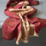 Indian cotton embroidered scarf maroon and beige