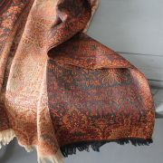 Indian cotton embroidered scarf black and beige
