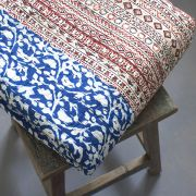 Indian handicraft bed cover Kantha blue and beige