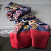 Indian mix cotton scarf red and blue