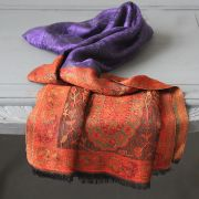 Indian Jamawar cotton scarf purple and orange