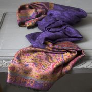 Indian Jamawar cotton scarf purple